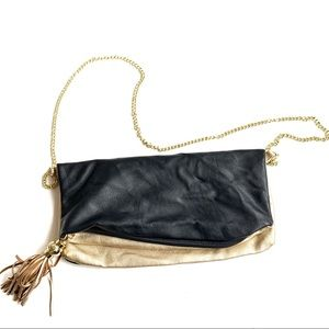 Steve Madden crossbody clutch black gold bag